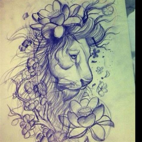 Lotus Tattoo With Lion | lion lotus tattoo sketch tattoo you pinterest i