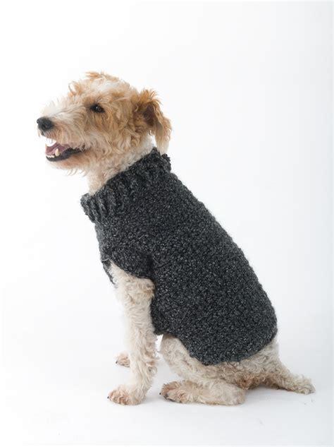 free pattern dog sweater crochet poet dog sweater in lion brand homespun l32350 crochet