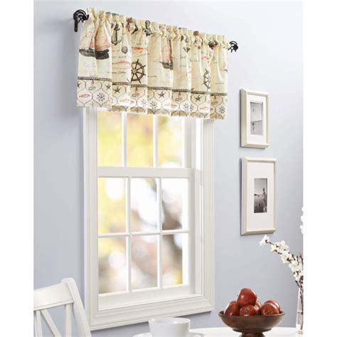 walmart kitchen curtains valances better homes and gardens nautical kitchen valance walmart