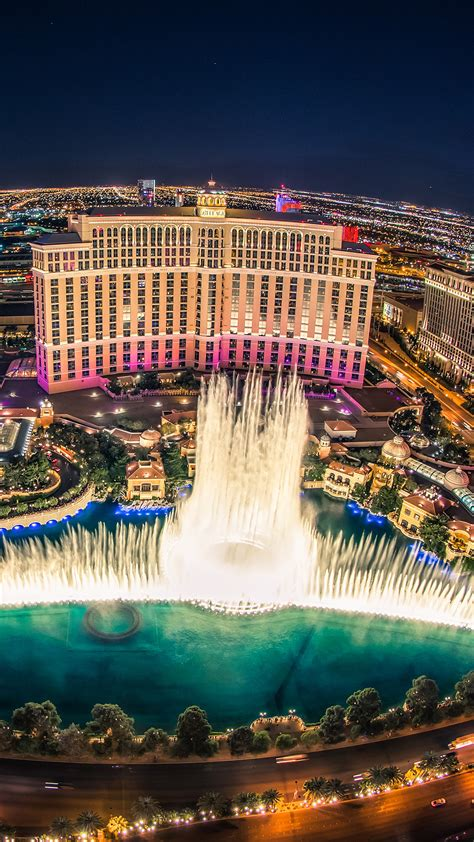 bellagio hotel las vegas fountain show top view wallpaper