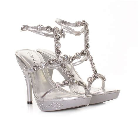 prom high heels womens silver high heel ankle evening wedding prom