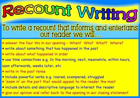 recount text english for pleasure 8englishcm recount writing