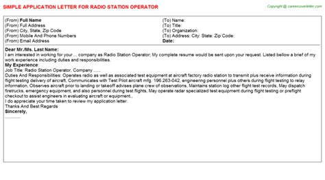 cover letter radio station