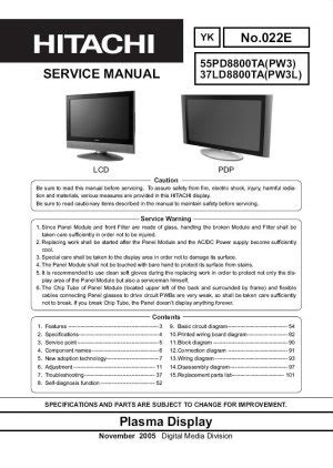 Hitachi 55pd8800ta 37ld8800ta Tv Service Repair Manual