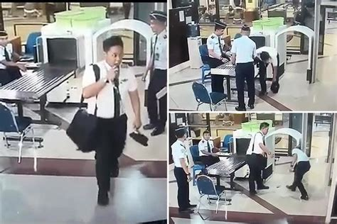 citilink drunk pilot shocking cctv footage shows drunk pilot stumbling