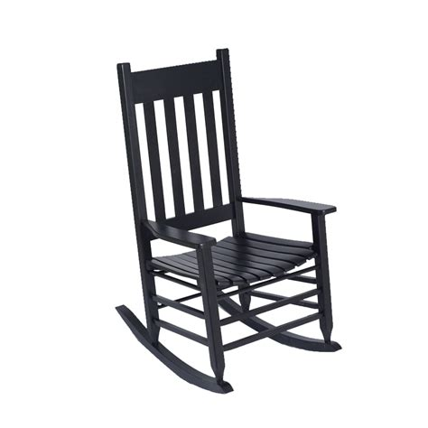Lowes Porch Chairs shop garden treasures black wood slat seat outdoor rocking
