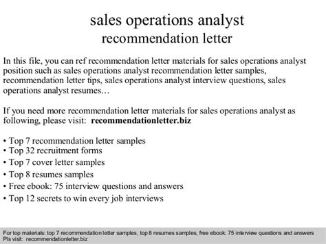 Reference Letter Operations Manager sales operations analyst recommendation letter