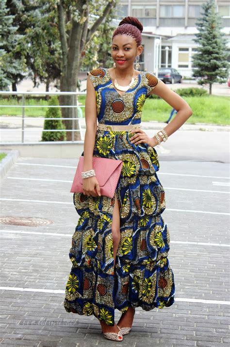 Long ankara dress with front slit   Modavracha