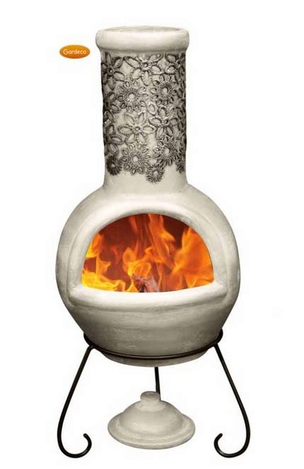 Black Clay Chiminea Flor Black And Beige Clay Chiminea By Gardeco H110cm X