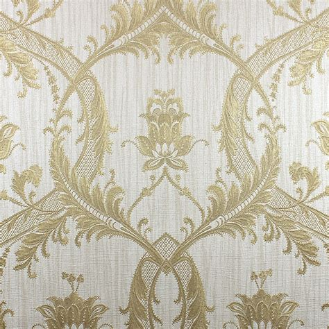 Classic Bathroom Design milano damask glitter wallpaper cream gold m95559