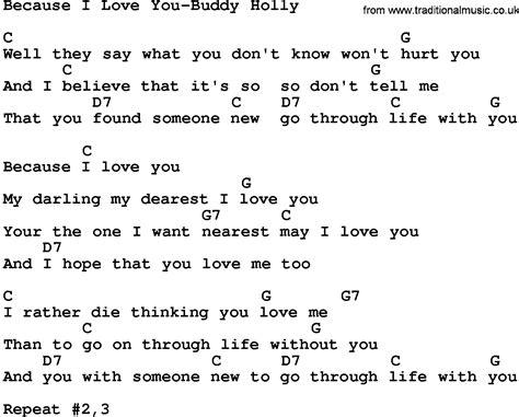 country music lyrics i love you joe country music because i love you buddy holly lyrics and chords