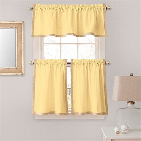 yellow tier curtains seaview window curtain tier pair in yellow bed bath beyond