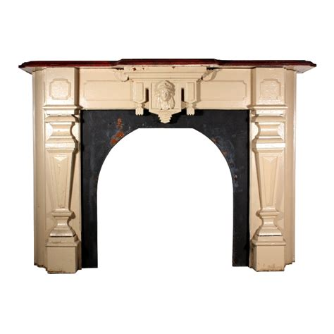antique figural fireplace mantel with s