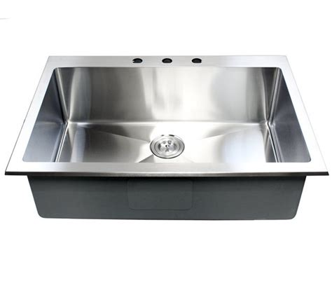 Top Mount Stainless Steel Kitchen Sink 33 Inch Top Mount Drop In Stainless Steel Single Bowl Kitchen Sink