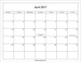 April 2017 calendar printable with holidays yearly calendar