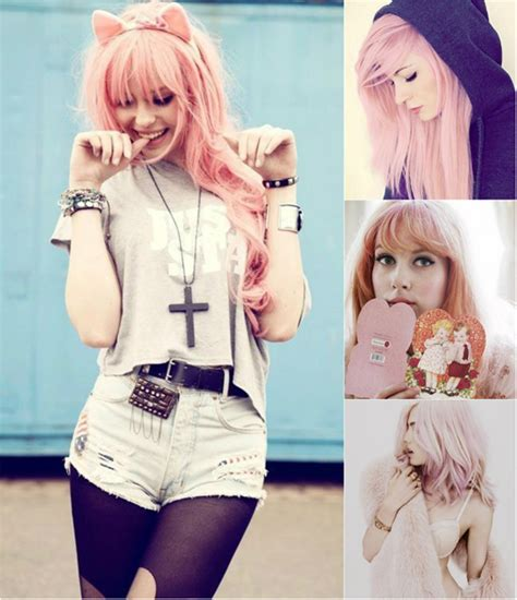 kawaii pastel goth fashion tumblr sweet colored hairstyles you can try with pink hair