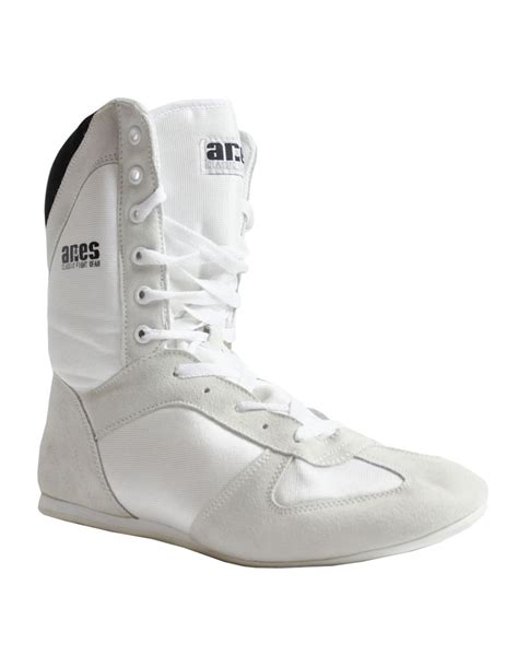 white boxing shoes high top aries fight gear