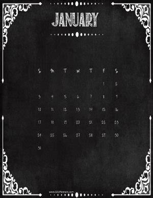 printable january  calendar customize