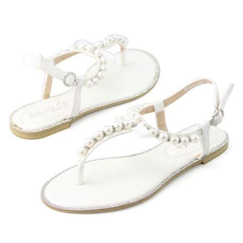 pearl sandals flat womens white rhinestone flat pearl leather sandals wedding