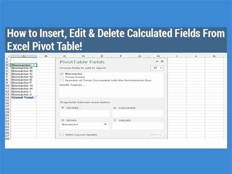 How To Use Excel Pivot Tables by How To Insert Edit Delete Calculated Fields From An