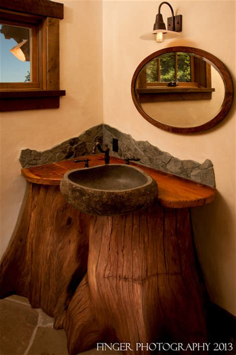 Gray Leather Dining Room Chairs by Log Cabin Sink Rustic Bathroom San Francisco By