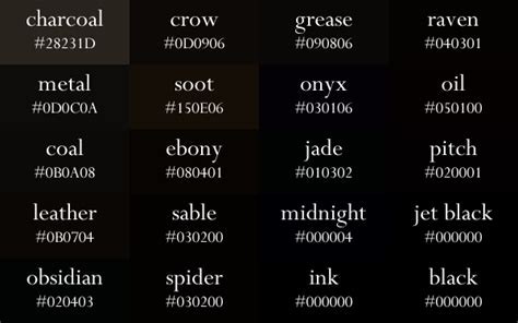 black color names pin by inspiration board on color palette paint color