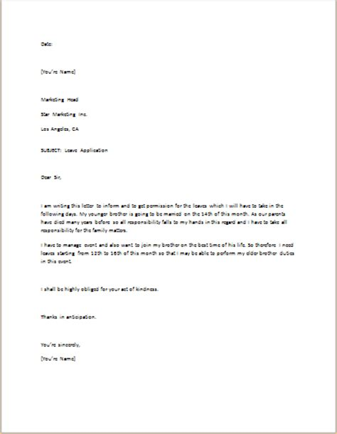 Application Letter In Exle Leave Application Letter Template For Word Word Excel Templates