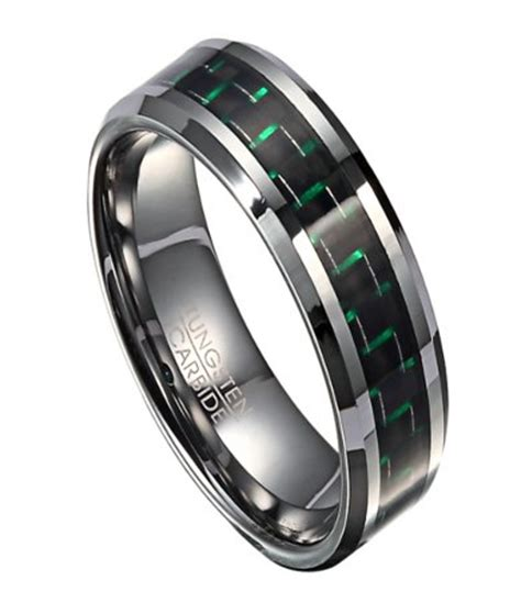 tungsten s wedding band with green carbon fiber