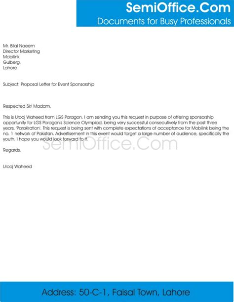 Sponsorship Letter Format Sle Letter For Event Sponsorship