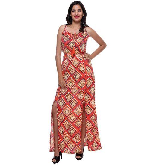 shizuka orange rayon maxi dress buy shizuka orange rayon maxi dress at best prices in