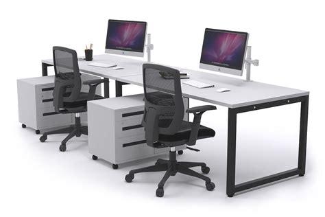 white two person desk litewall evolve 2 person office workstation desk run