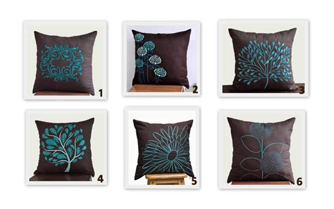 Aqua And Brown Throw Pillows Brown Teal Turquoise Throw Pillow Covers Set Of 2 Pillow