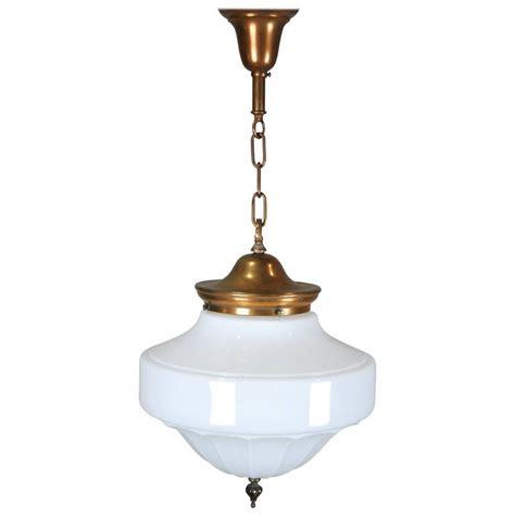 Milk Glass Pendant Light 1920 Copper Nouveau Milk Glass Pendant Light At 1stdibs