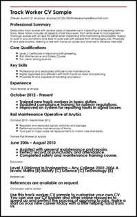 Track Worker Sle Resume track worker cv sle myperfectcv