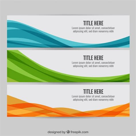 banner design work colourful wave web banners vector free download