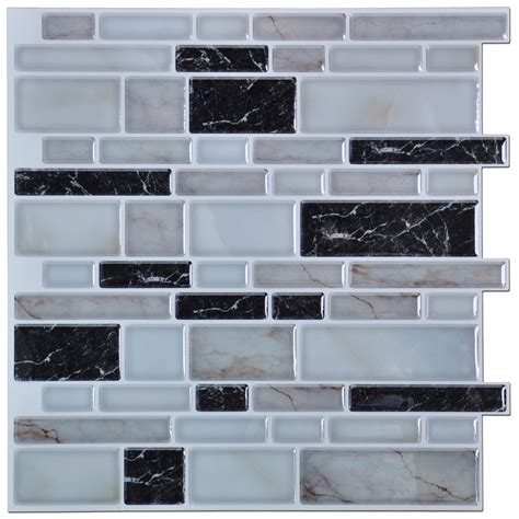stick on backsplash tiles peel n stick kitchen backsplash tiles stone brick pattern