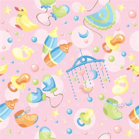 baby cute wallpaper vector seamless pink background with baby toys and accessories
