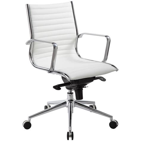 white leather office chair medium back white leather office chair cheap