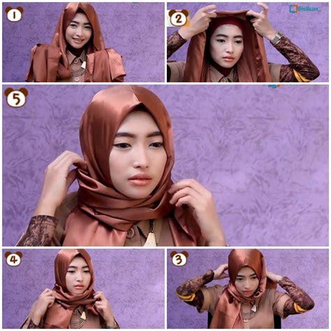 tutorial kerudung pashmina bahan licin tutorial hijab pashmina satin wajah bulat
