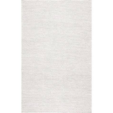 Area Rug White Nuloom Chunky Woolen Cable White 5 Ft X 8 Ft Area Rug Cb01 508 The Home Depot