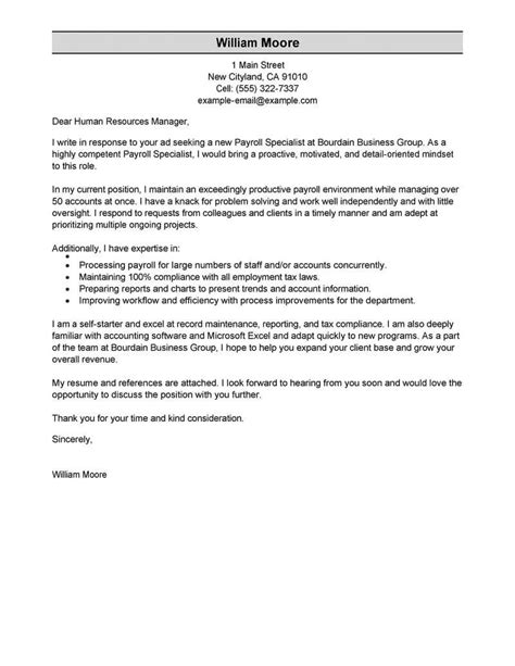 Business Specialist Cover Letter by Best Payroll Specialist Cover Letter Exles Livecareer