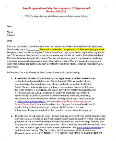 temporary appointment letter template 5 temporary appointment letter templates free word pdf