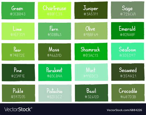 types of green color green tone color shade background with code vector image
