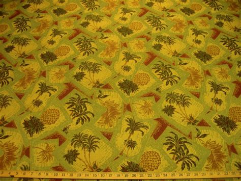 pineapple upholstery fabric 3 75 yd pineapple and palm tree upholstery fabric r7866 ebay