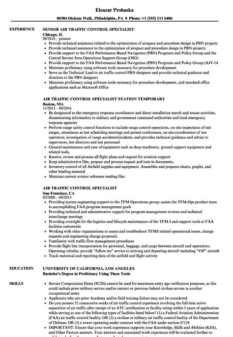 air traffic specialist resume sles velvet
