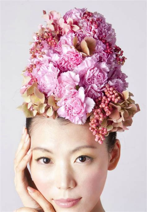 flower design in hair unusual hair dressing using fresh flowers and vegetables