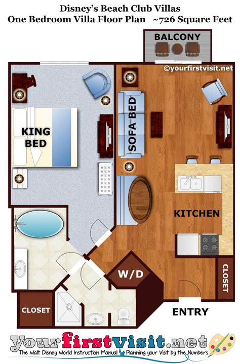 disney vacation club floor plans the living dining kitchen space of one and two bedroom