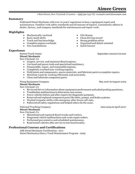 Best Diesel Mechanic Resume Exle Livecareer Diesel Mechanic Resume Template