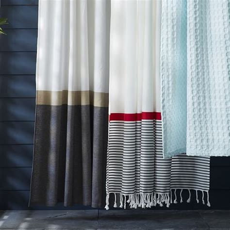 curtains with borders stripe border shower curtain stone white market red