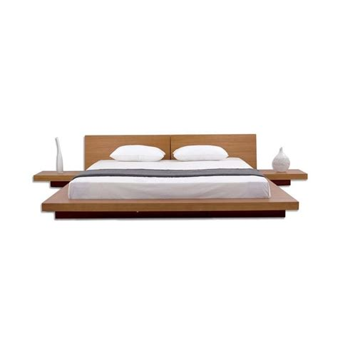 Japanese Platform Bed King Size Modern Japanese Style Platform Bed With Headboard And 2 Nightstands In Oak Loluxe